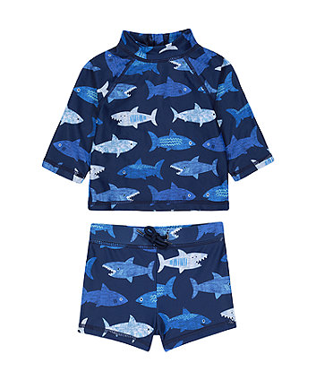 Mothercare Shark Trunkie Swim Shorts And Rash Vest Set