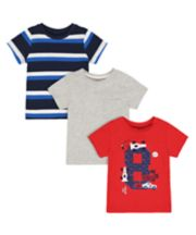 Mothercare Car, Striped And Grey T-Shirts - 3 Pack