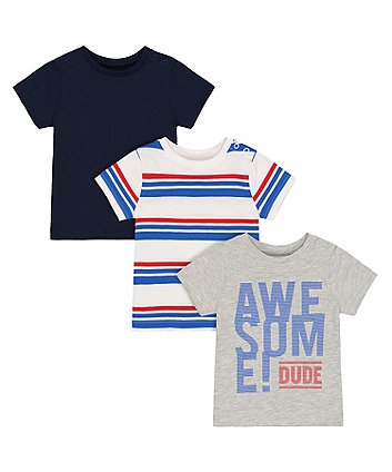 Mothercare Awesome Dude T-Shirts - 3 Pack