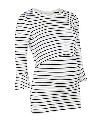 Mothercare Striped Frill-Sleeve Nursing Top
