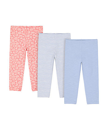 Mothercare Blue Stripe, Blue And Floral Leggings - 3 Pack