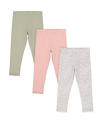 Mothercare Pink, Green And Leopard Print Leggings - 3 Pack