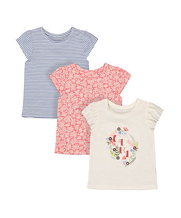 Mothercare Fashion Cream, Floral And Striped T-Shirts - 3 Pack