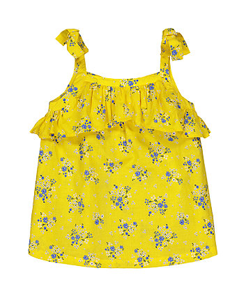 Mothercare Fashion Yellow Ditsy Floral Frill Blouse