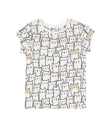 Mothercare Fashion White Cat T-Shirt