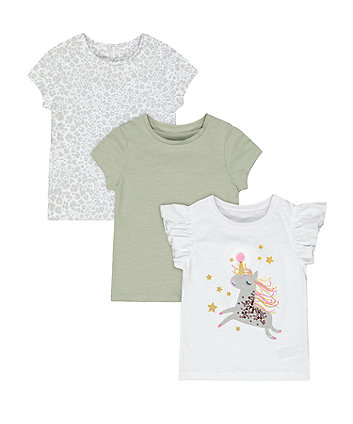 Mothercare Fashion Sparkly Unicorn, Green And Leopard Print T-Shirts - 3 Pack
