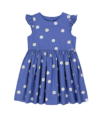 Mothercare Fashion Woven Blue Cat And Spot Dress