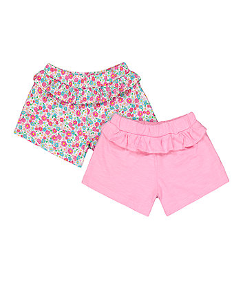Mothercare Pink And Floral Shorts - 2 Pack