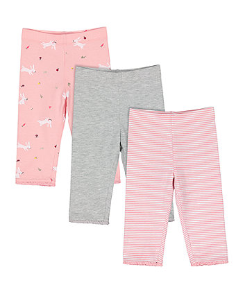 Mothercare Grey, Stripe And Spring-Garden Print Leggings - 3 Pack