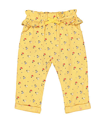 Mothercare Woven Mustard Ditsy Floral Trousers