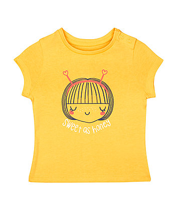 Mothercare Mustard-Yellow Sweet As Honey T-Shirt