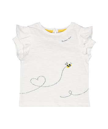 Mothercare White Sparkly Queen Bee T-Shirt