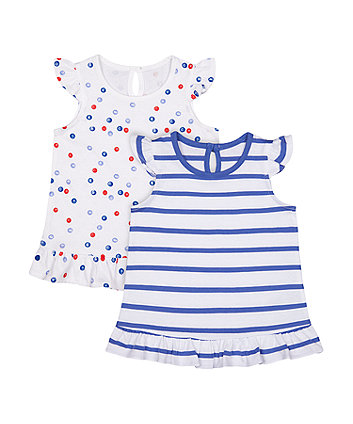 Mothercare Fashion Spot And Stripe Vest T-Shirts - 2 Pack
