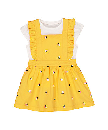 Mothercare Mustard Embroidered Floral Pinny Dress And White T-Shirt Set