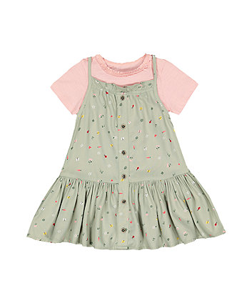 Mothercare Green Spring-Garden Dress And T-Shirt Set