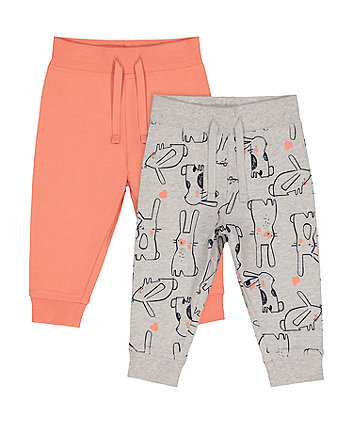 Mothercare Coral And Grey Bunny Joggers - 2 Pack