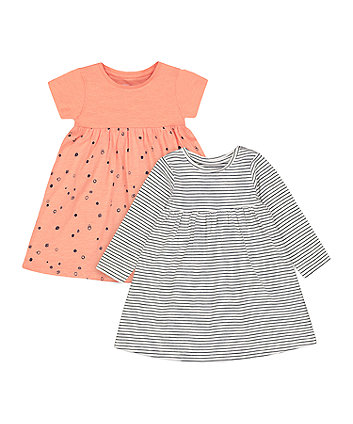 Mothercare Striped And Print Dresses - 2 Pack