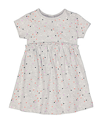 Mothercare Grey Heart-Print Jersey Dress