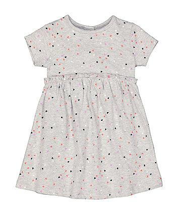 Mothercare Grey Heart-Print Jersey Dress