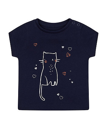 Mothercare Navy Cat Hearts T-Shirt