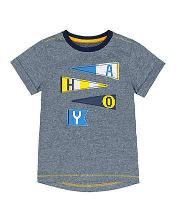 Mothercare Fashion Navy Striped Ahoy T-Shirt