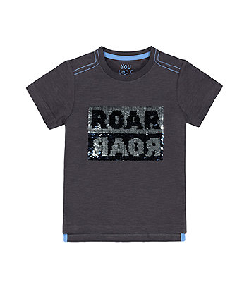 Mothercare Black Reversible-Sequin Roar T-Shirt
