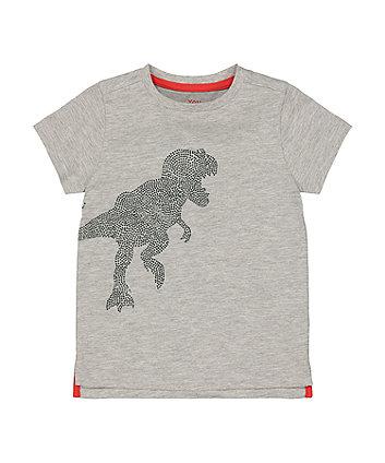 Mothercare Fashion Grey Sparkly Dinosaur T-Shirt