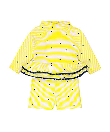 Mothercare Yellow Striped Rash Vest And Shorts Set