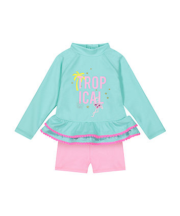 Mothercare Tropical Turquoise Rash Vest And Shorts Set
