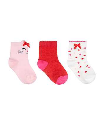 Mothercare Cat And Heart Socks - 3 Pack