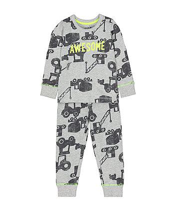 Mothercare Fashion Grey Awesome Vehicle Pyjamas