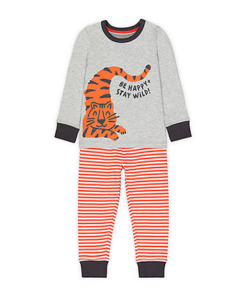 Mothercare Fashion Grey And Orange Happy Tiger Pyjamas