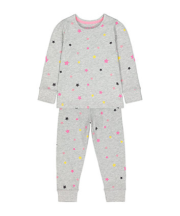 Mothercare Fashion Grey Neon Star Pyjamas