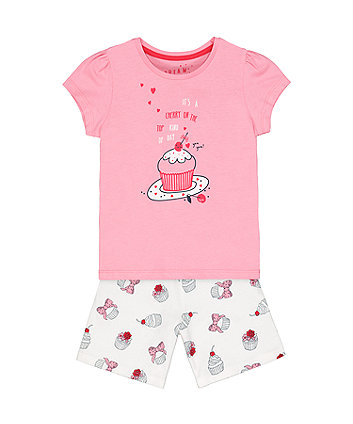Mothercare Pink Cherry Cupcake Shortie Pyjamas