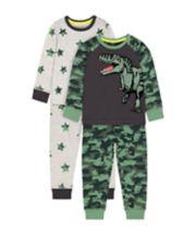 Mothercare Camouflage T-Rex Dinosaur And Stars Pyjamas - 2 Pack