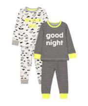 Mothercare Stripe Good Night And Cloud Dream Big Pyjamas - 2 Pack