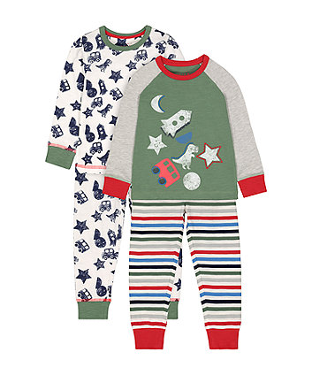 Mothercare Dinosaur And Space Playtime Pyjamas - 2 Pack