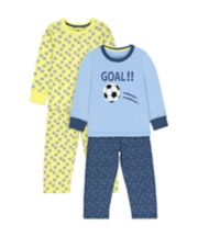 Mothercare Football Goal Wide-Leg Pyjamas - 2 Pack
