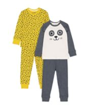 Mothercare Animal Panda And Leopard Pyjamas - 2 Pack