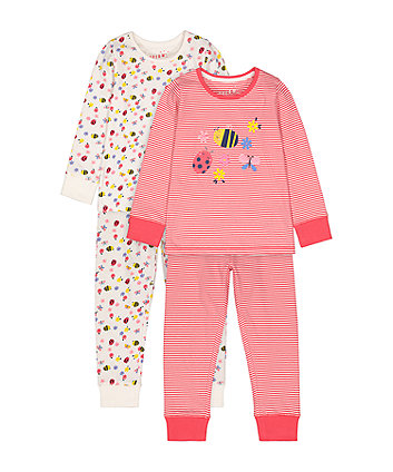Mothercare Summer Garden Bumble Bee Pyjamas - 2 Pack