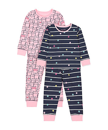 Mothercare Navy Spot And Pink Cat Pyjamas - 2 Pack