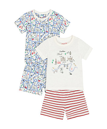 Mothercare Heritage London Shortie Pyjamas - 2 Pack