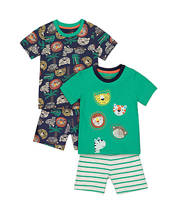 Mothercare Safari Animal Shortie Pyjamas - 2 Pack