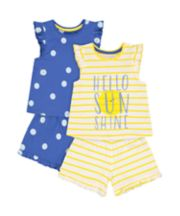 Mothercare Fashion Sunshine And Cat Shortie Pyjamas - 2 Pack