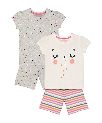 Mothercare Fashion Cat Face And Heart Shortie Pyjamas - 2 Pack