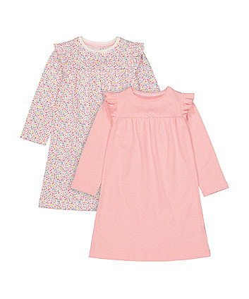 Mothercare Pink Spot And Ditsy Floral Nightdresses - 2 Pack
