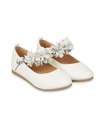 Mothercare White Flower Ballerina Shoes