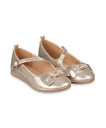 Mothercare Sparkly Gold Bow Ballerina Shoes