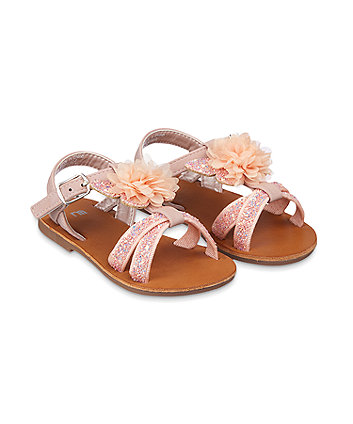 Mothercare Pink Glitter Flower Corsage Butterfly Sandals