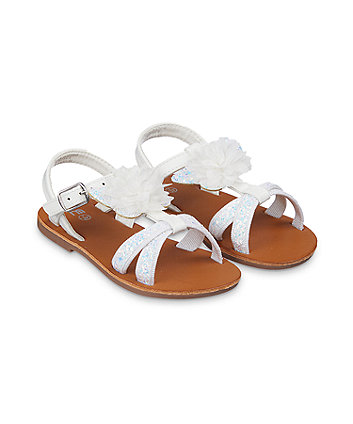 Mothercare White Glitter Flower Corsage Butterfly Sandals